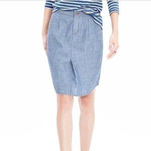 Banana Republic Chambray Shirttail Skirt 12 Tall